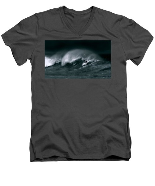 Surfing In Heavy Wind And Tide Men's V-Neck T-Shirt