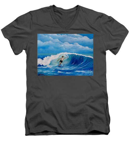 Surfing On The Waves Men's V-Neck T-Shirt
