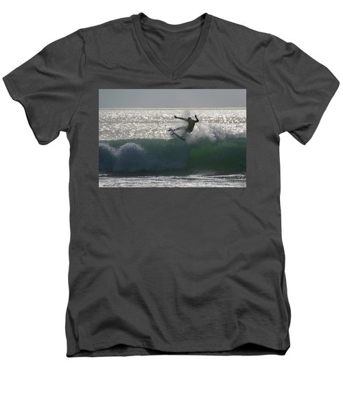 Men's V-Neck T-Shirt featuring the photograph Surfing The Light by Thierry Bouriat