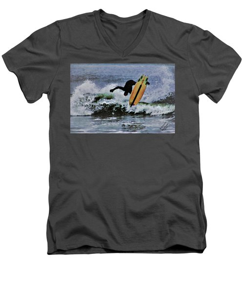 Men's V-Neck T-Shirt featuring the photograph Surfs Up by B Wayne Mullins