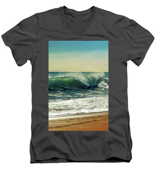 Men's V-Neck T-Shirt featuring the photograph Surf's Up by Laura Fasulo