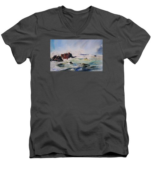 Surf's Up Men's V-Neck T-Shirt by P Anthony Visco
