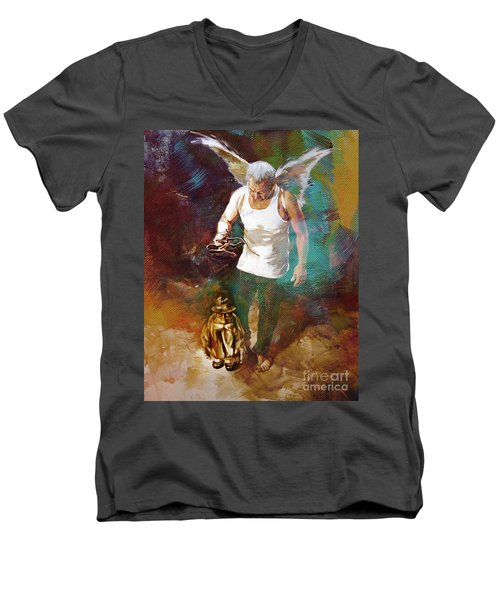 Men's V-Neck T-Shirt featuring the painting Surreal Art  by Gull G