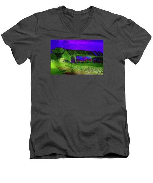 Surreal Barn Graffiti Men's V-Neck T-Shirt by Dee Flouton