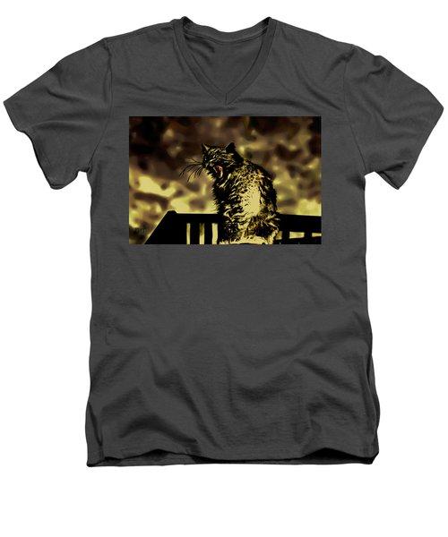 Surreal Cat Yawn Men's V-Neck T-Shirt by Gina O'Brien