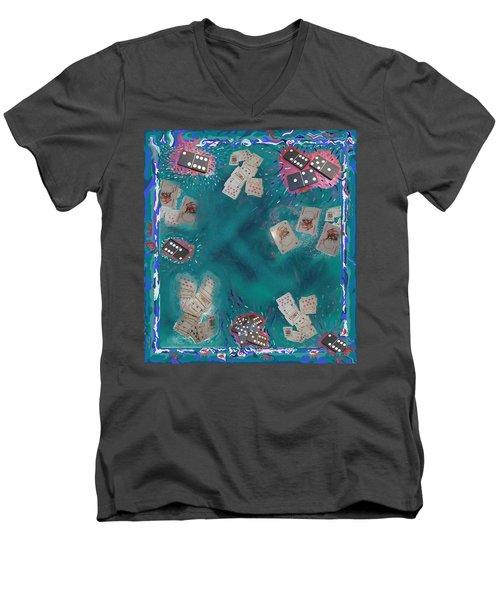 Surreal Lake Art And Poem Men's V-Neck T-Shirt
