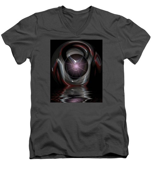 Men's V-Neck T-Shirt featuring the digital art Surreal Reflections by Mario Carini