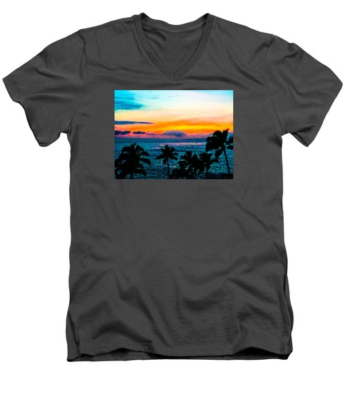 Surreal Sunset Men's V-Neck T-Shirt by Russell Keating
