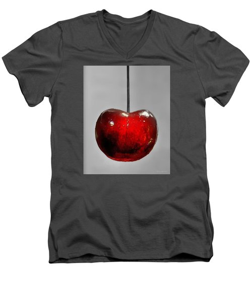 Men's V-Neck T-Shirt featuring the photograph Suspended Cherry by Suzanne Stout