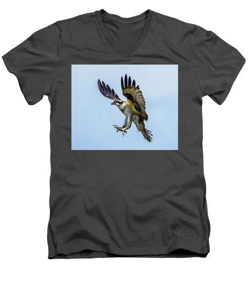 Suspended Osprey Men's V-Neck T-Shirt by Jerry Cahill