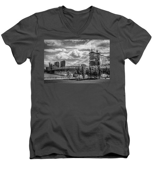 Suspension Bridge Black And White Men's V-Neck T-Shirt by Scott Meyer