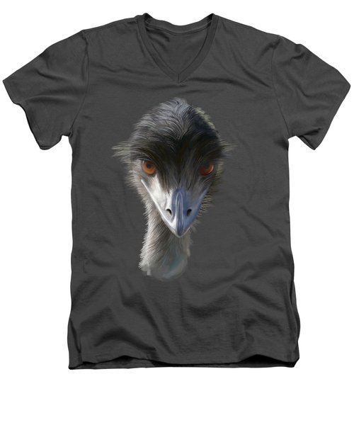 Men's V-Neck T-Shirt featuring the painting Suspicious Emu Stare by Ivana Westin