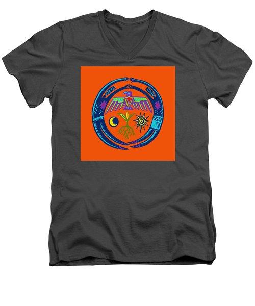 Men's V-Neck T-Shirt featuring the digital art Sw Shaman Eagle Rain Dance by Vagabond Folk Art - Virginia Vivier
