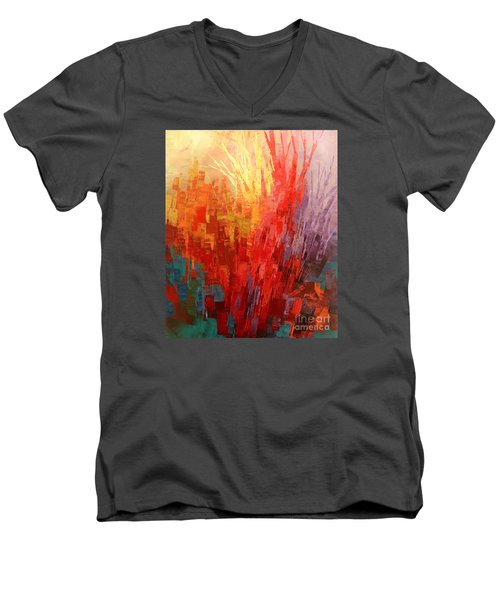 Men's V-Neck T-Shirt featuring the painting Swagger Of A Troubador by Tatiana Iliina
