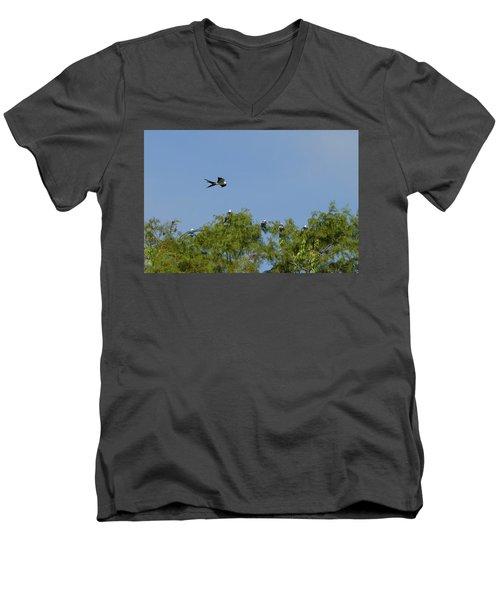 Swallow-tailed Kite Flyover Men's V-Neck T-Shirt by Paul Rebmann