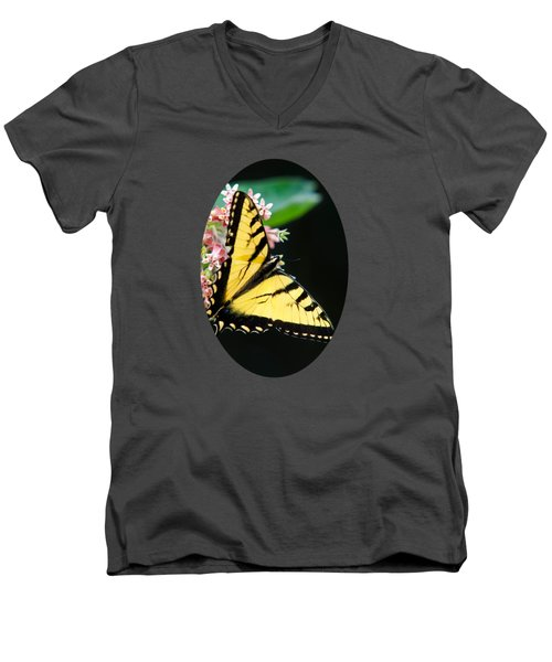 Swallowtail Butterfly And Milkweed Flowers Men's V-Neck T-Shirt