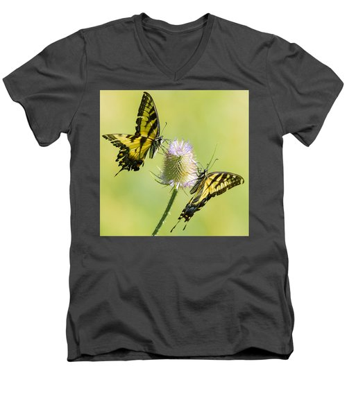 Swallowtails On Thistle  Men's V-Neck T-Shirt