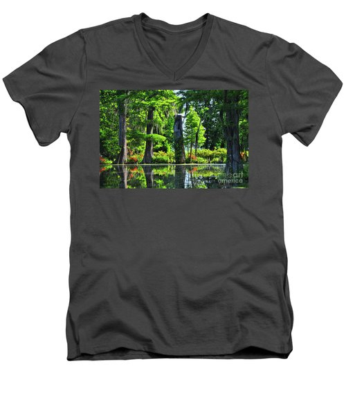 Swamp In Bloom Signed Men's V-Neck T-Shirt