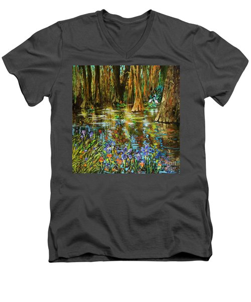 Men's V-Neck T-Shirt featuring the painting Swamp Iris by Dianne Parks