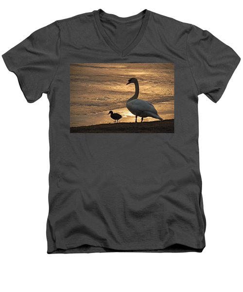 Men's V-Neck T-Shirt featuring the photograph Swan And Baby At Sunset by Richard Bryce and Family