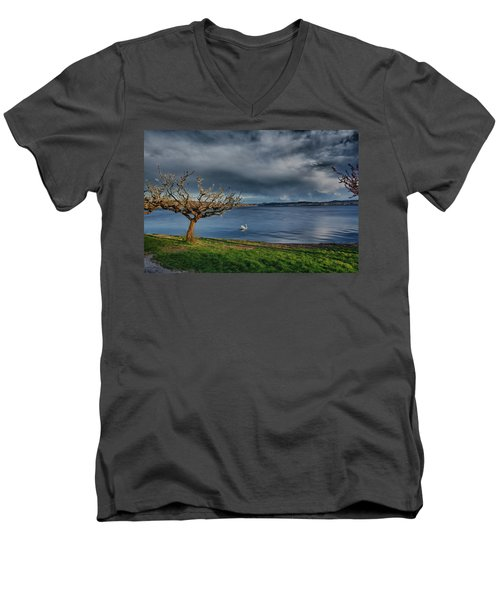 Swan And Tree Men's V-Neck T-Shirt