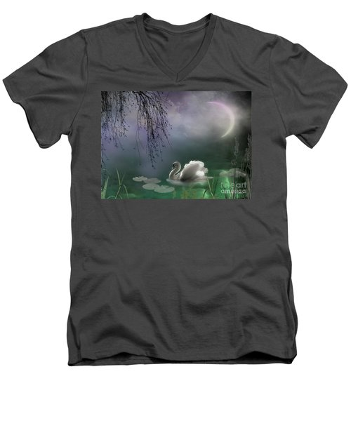 Swan By Moonlight Men's V-Neck T-Shirt