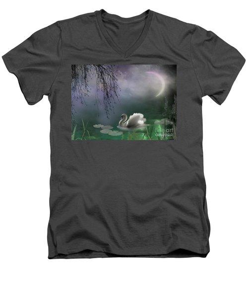 Swan By Moonlight Men's V-Neck T-Shirt