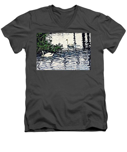 Men's V-Neck T-Shirt featuring the photograph Swan Family On The Rhine 3 by Sarah Loft