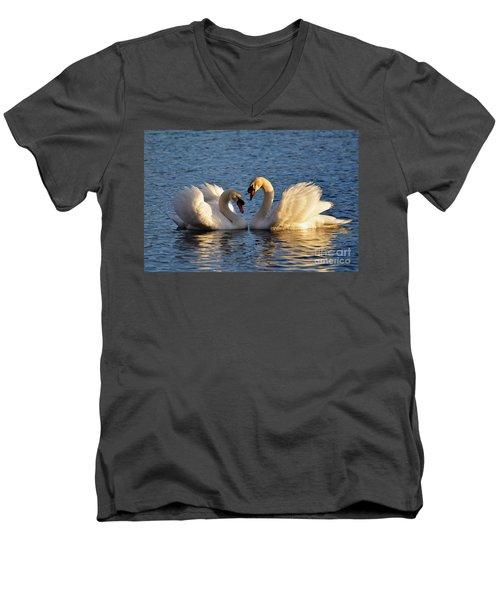 Swan Heart Men's V-Neck T-Shirt