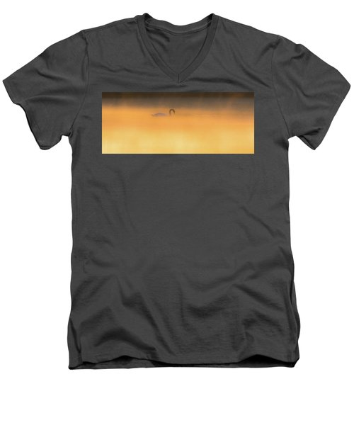 Swan In Aurora's Fiery Dawn Men's V-Neck T-Shirt