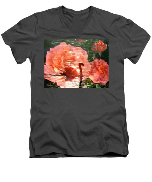 Swan In Lake With Orange Flowers Men's V-Neck T-Shirt by Annie Zeno