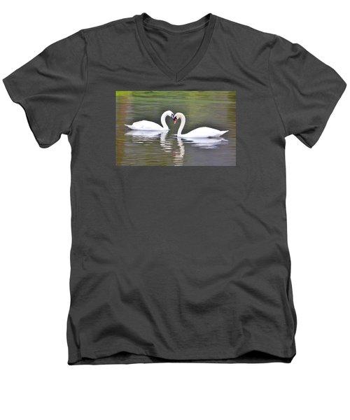 Swan Love Men's V-Neck T-Shirt by Diane Alexander