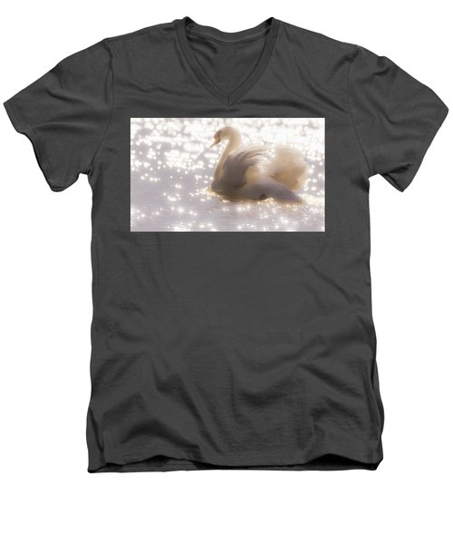 Swan Of The Glittery Early Evening Men's V-Neck T-Shirt