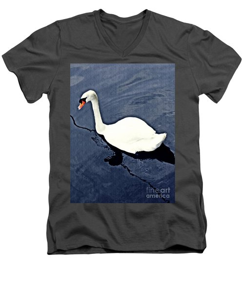 Men's V-Neck T-Shirt featuring the photograph Swan On The Rhine by Sarah Loft