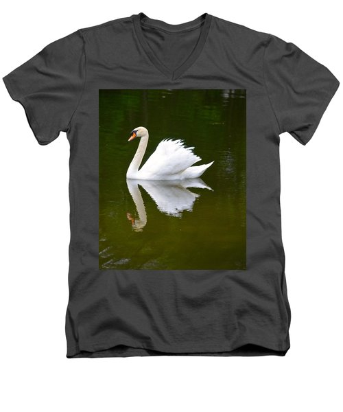 Swan Reflecting Men's V-Neck T-Shirt