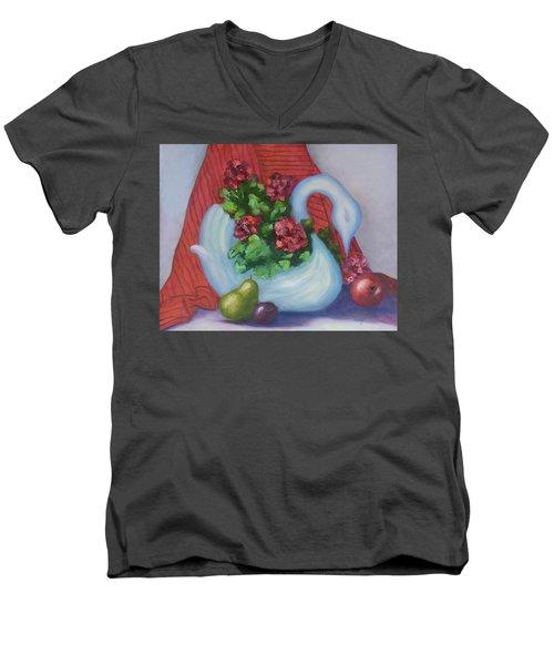 Swanza's Swan Men's V-Neck T-Shirt by Quwatha Valentine