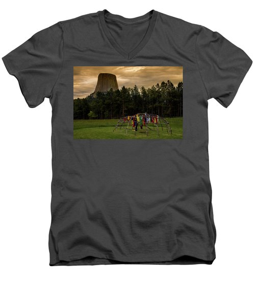 Men's V-Neck T-Shirt featuring the photograph Sweat Lodge At Devil's Tower by Gary Lengyel