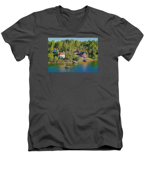 Men's V-Neck T-Shirt featuring the photograph Swedish Island Village by Dennis Cox WorldViews