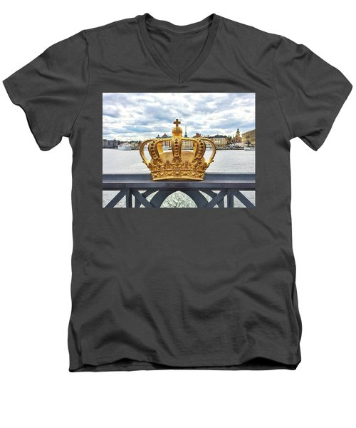 Swedish Royal Crown On A Bridge In Stockholm Men's V-Neck T-Shirt by GoodMood Art