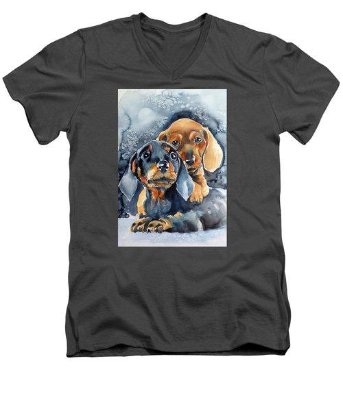Sweet Little Dogs Men's V-Neck T-Shirt by Kovacs Anna Brigitta