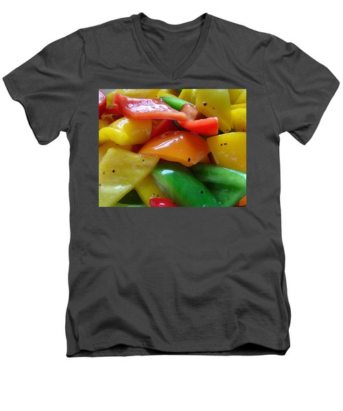 Men's V-Neck T-Shirt featuring the digital art Sweet Peppers by Jana Russon