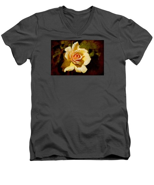 Sweet Rose Men's V-Neck T-Shirt by Milena Ilieva