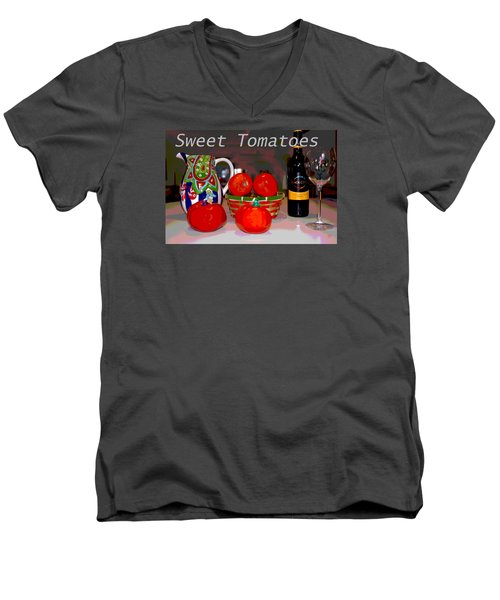 Men's V-Neck T-Shirt featuring the mixed media Sweet Tomatoes by Charles Shoup