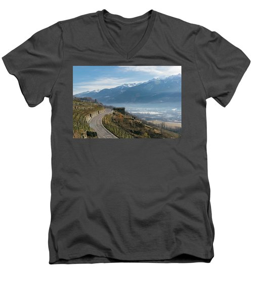 Swerving Road In Valtellina, Italy Men's V-Neck T-Shirt