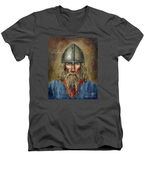 Sweyn Forkbeard Men's V-Neck T-Shirt by Arturas Slapsys