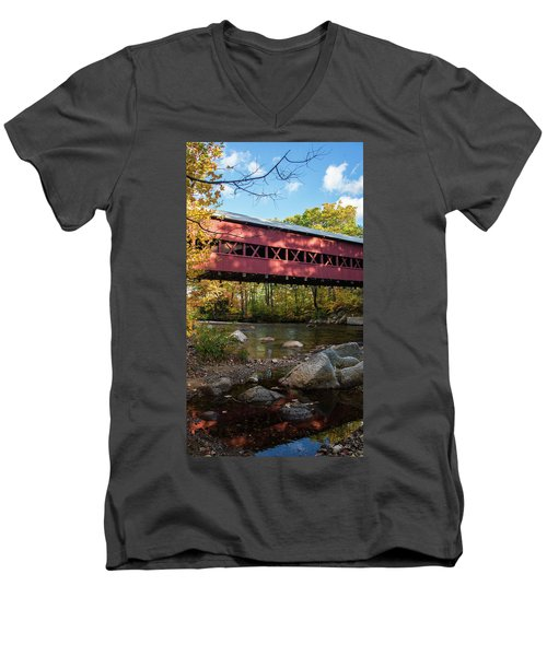 Men's V-Neck T-Shirt featuring the photograph Swift River Covered Bridge by Tim Kathka