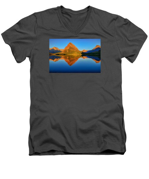 Swiftcurrent Morning Reflections Men's V-Neck T-Shirt by Greg Norrell