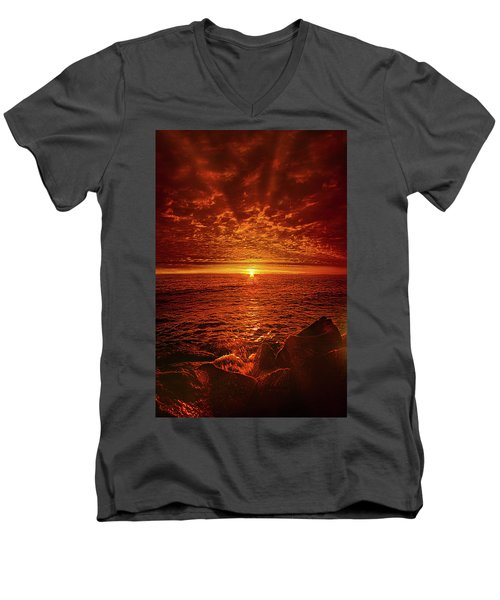 Men's V-Neck T-Shirt featuring the photograph Swiftly Flow The Days by Phil Koch