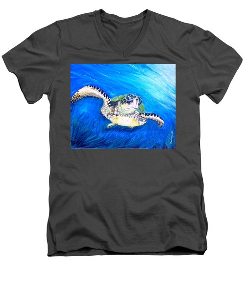 Men's V-Neck T-Shirt featuring the painting Swim by Dawn Harrell