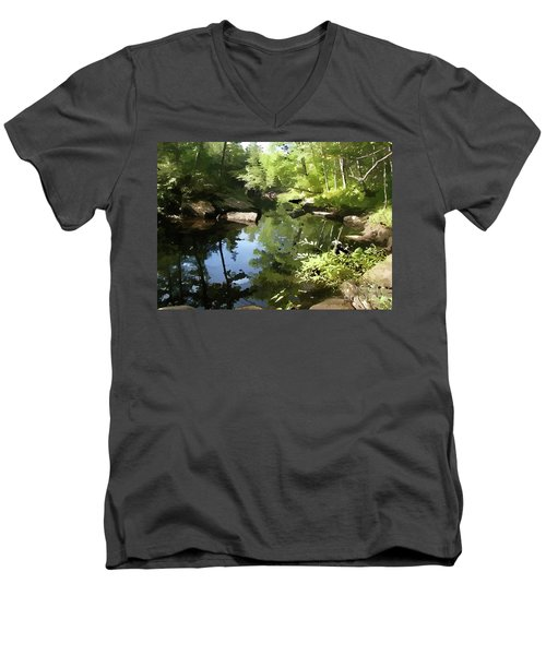 Swimmin' Hole Men's V-Neck T-Shirt by Betsy Zimmerli